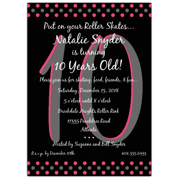 10 year old birthday invitations