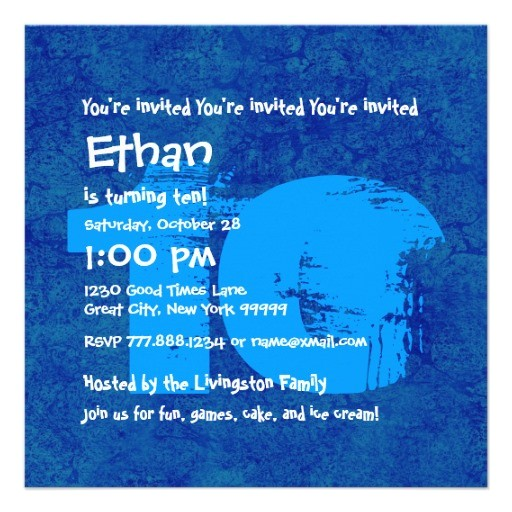 10 Year Old Boy Birthday Party Invitation Wording Free Printable 10 Year Old Birthday Invitations