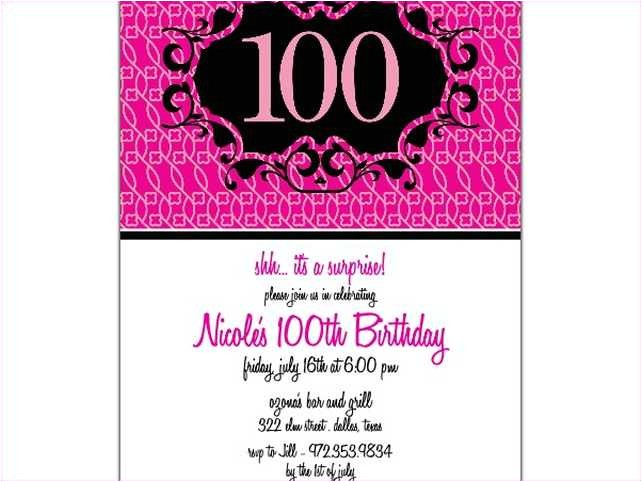 100th birthday invitations wording