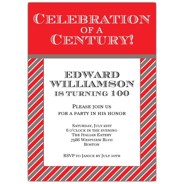 Celebration of a Century 100th Invitations p 628 57 302