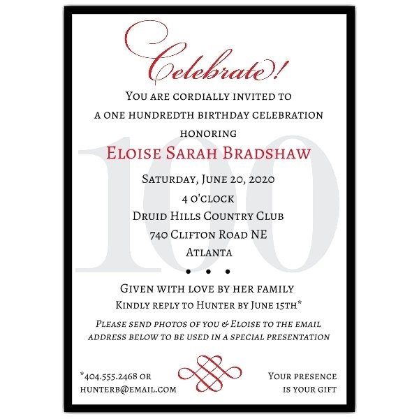 Classic 100th Birthday Celebrate Party Invitations p 607 57 100c