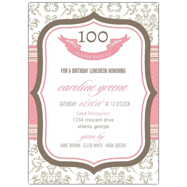 French Boutique 100th Birthday Invitations p 604 57 1094