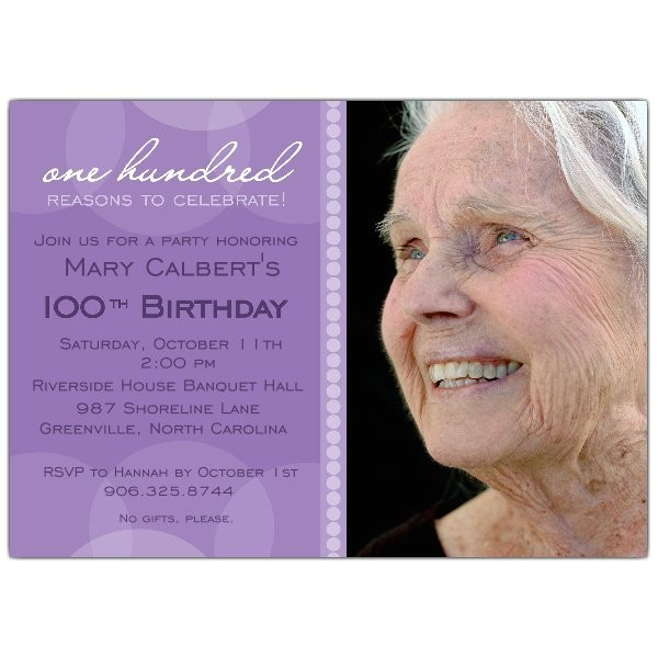 Lavender Circle 100th Birthday Invitations p 634 75 PUR001
