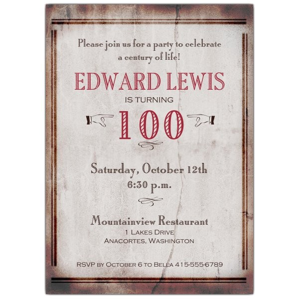 Old World 100th Birthday Invitations p 608 57 171