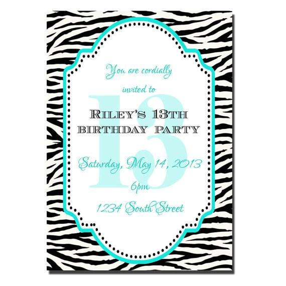 13th birthday party invitation girl