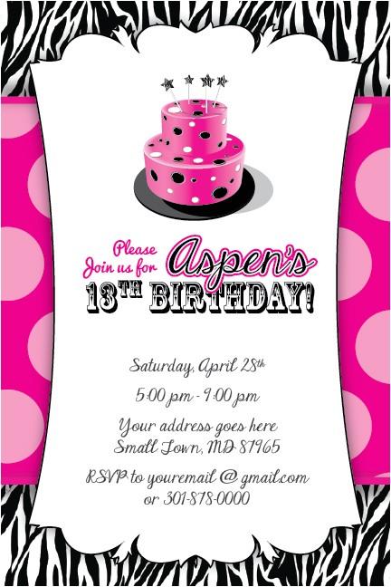 post free printable 13th birthday invitations templates