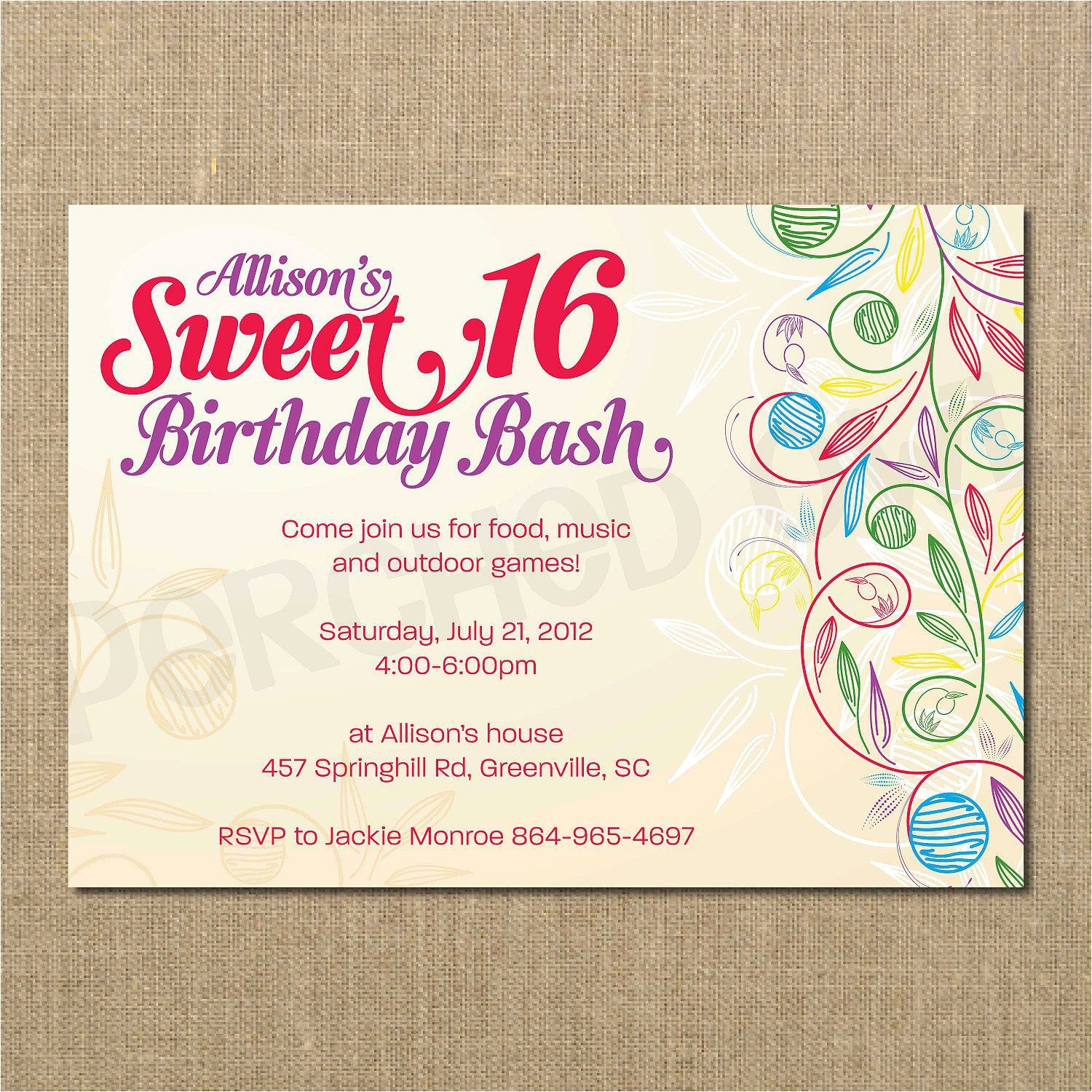 sweet 16 birthday invitations wording