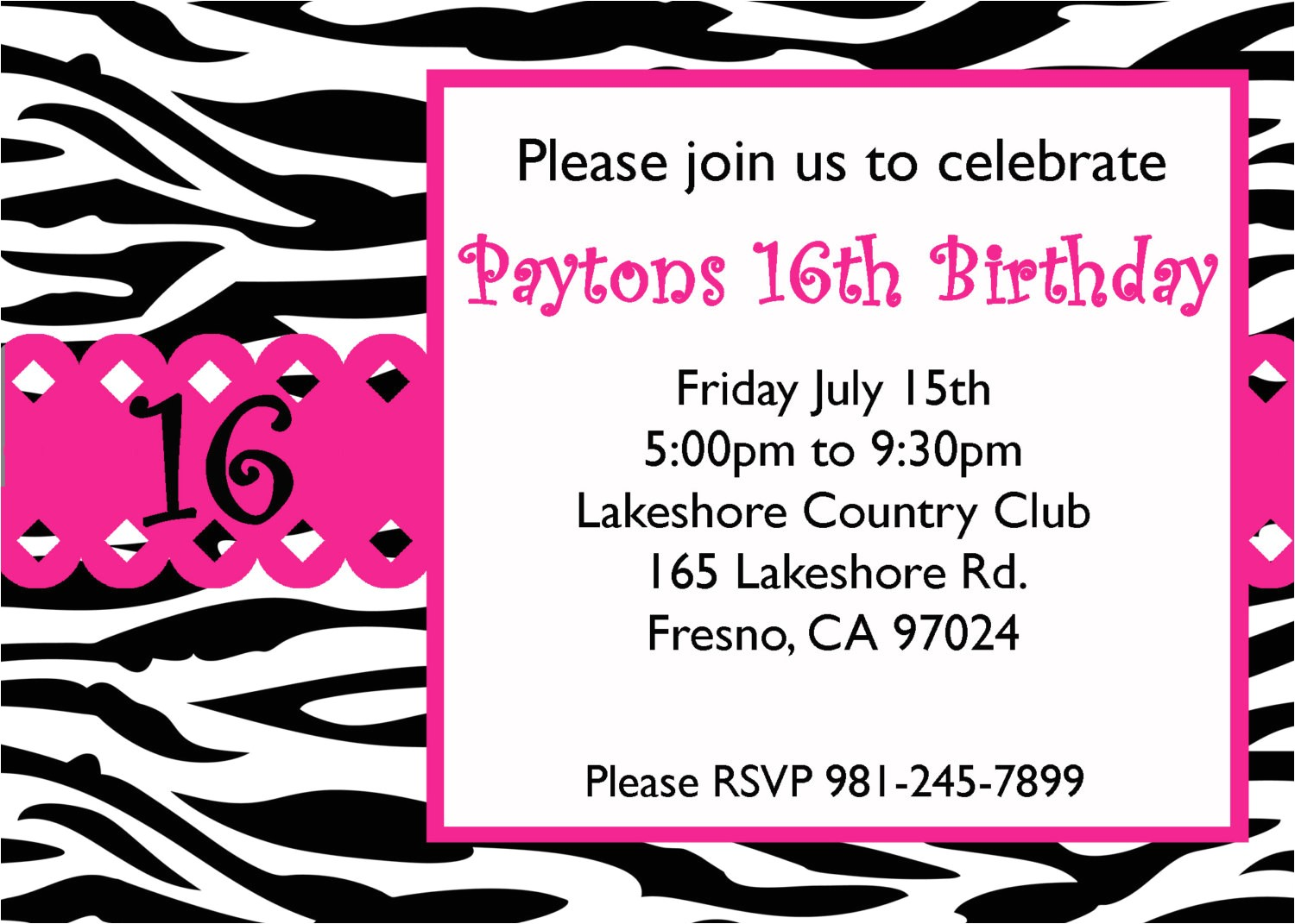 sweet 16 birthday invitations templates