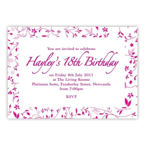 18th birthday invitation card sample
