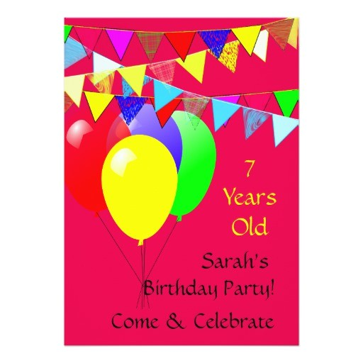 kids 7 year old birthday party 13 cm x 18 cm invitation card