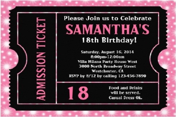 18th birthday party invitations templates