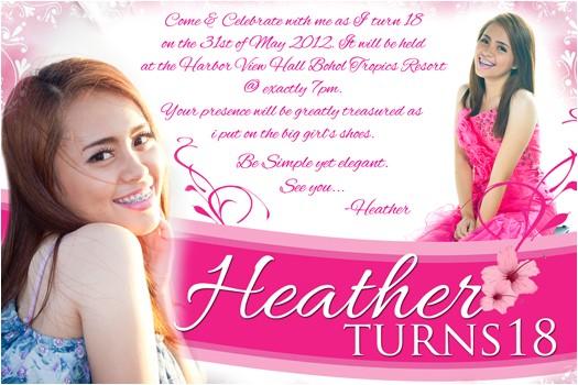 heather 18th birthday invitation