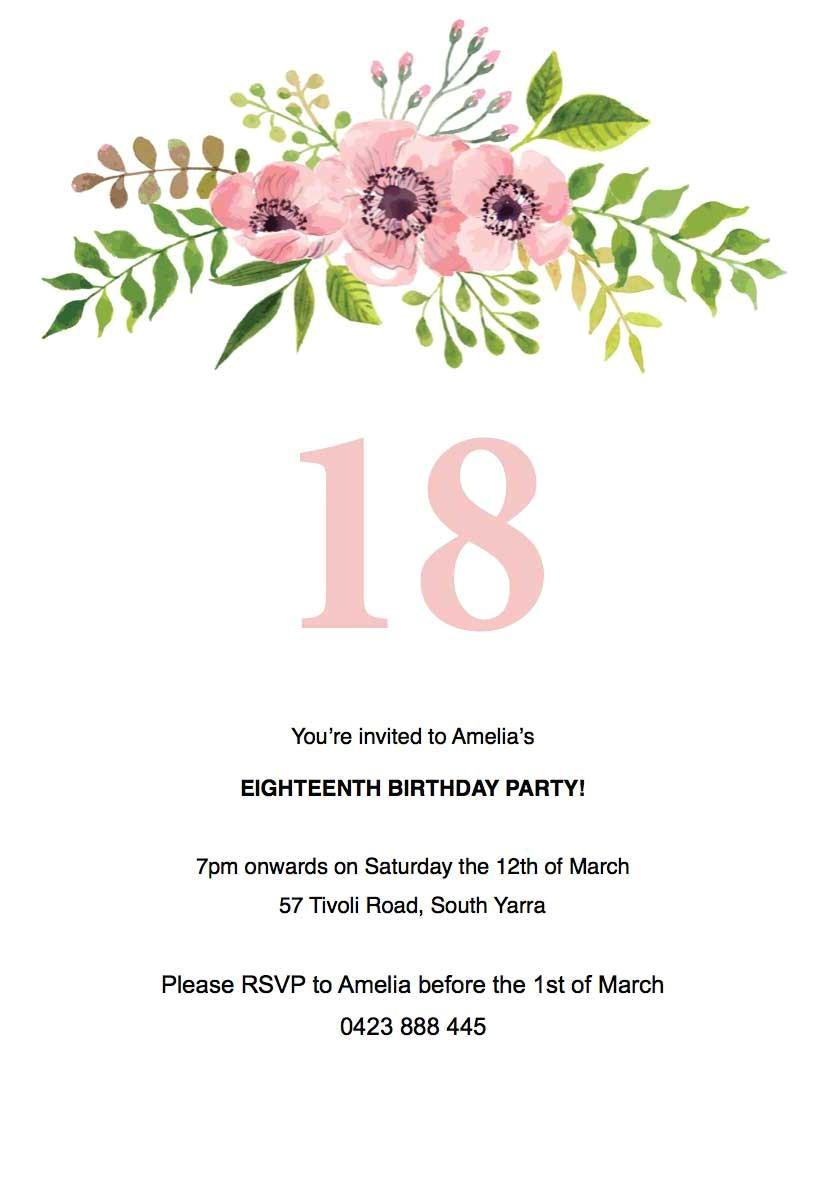 free 18th birthday invitation templates