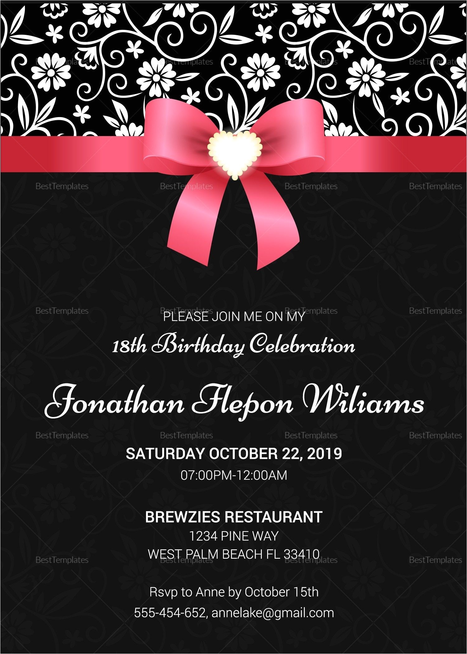 invitation templates for 18th birthday party fresh 18th birthday party invitation templates free download invitation