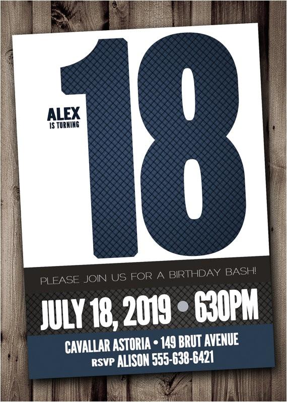 18th birthday party invitation for man