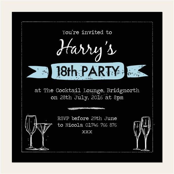 18th Birthday Party Invitations Free 18th Birthday Invitations Boys Chalkboard