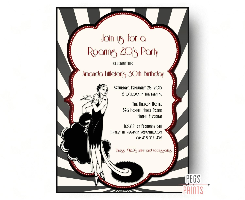 roaring 20s invitation 1920s invitations