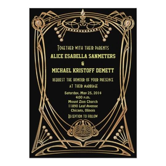 art deco gatsby style wedding invitation 1920s