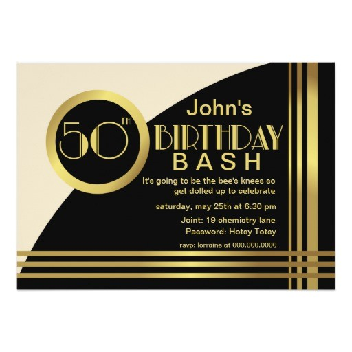 hotsy totsy 1920s style 50th birthday party invite