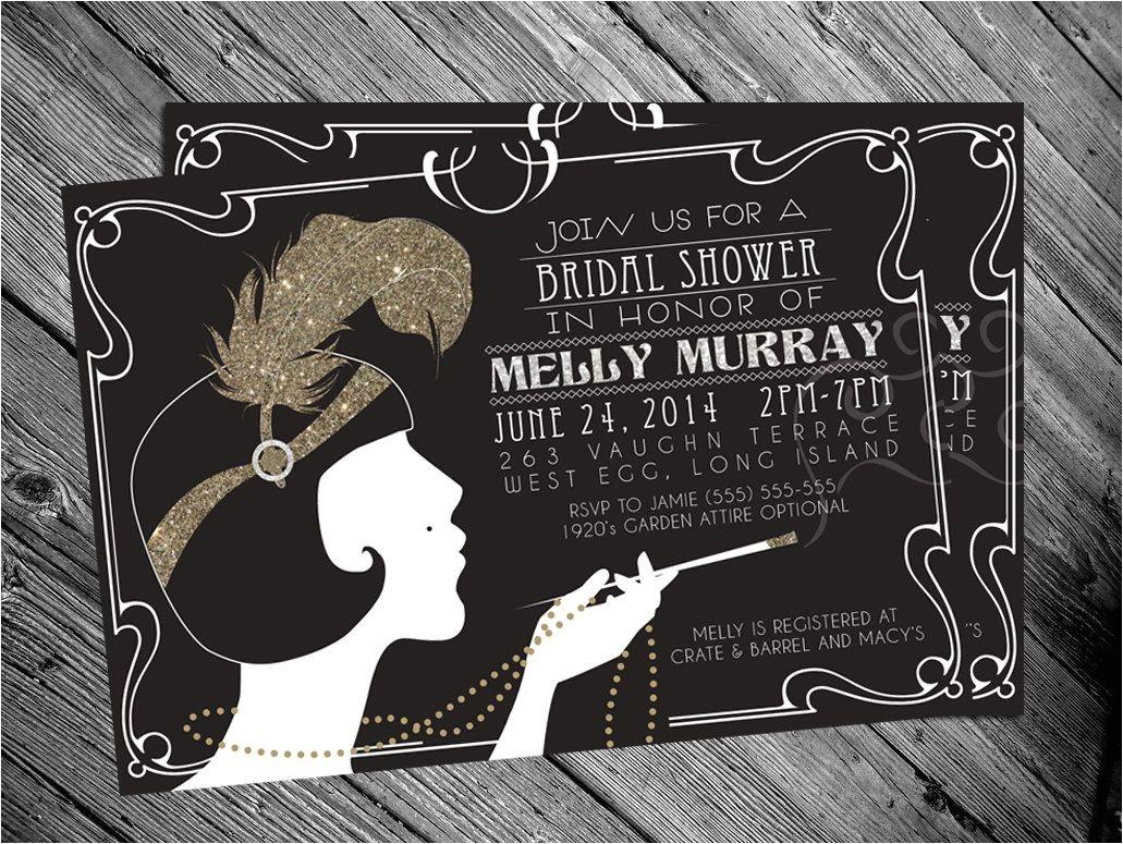 1920s themed Birthday Invitations 1920 39 S Gatsby Flapper Bridal Shower Invitation by