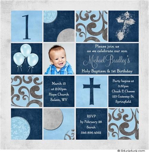 colorful photo baptism invitation