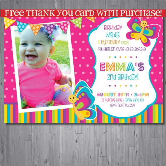 butterfly birthday invitation first