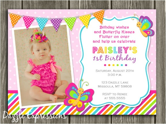 Butterfly Birthday Invitation 2 Thank You Card Included