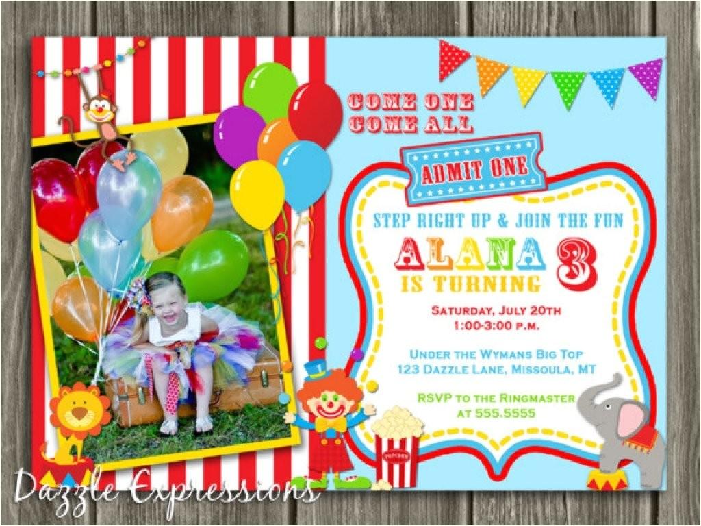 circus 1st birthday invitations