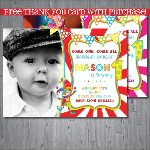 circus birthday invitation first