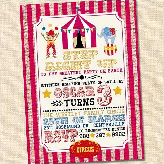 step right up circus party invitation