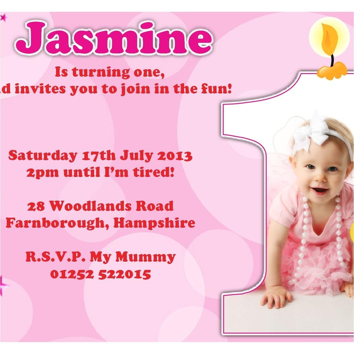 1st birthday invitation card wordings
