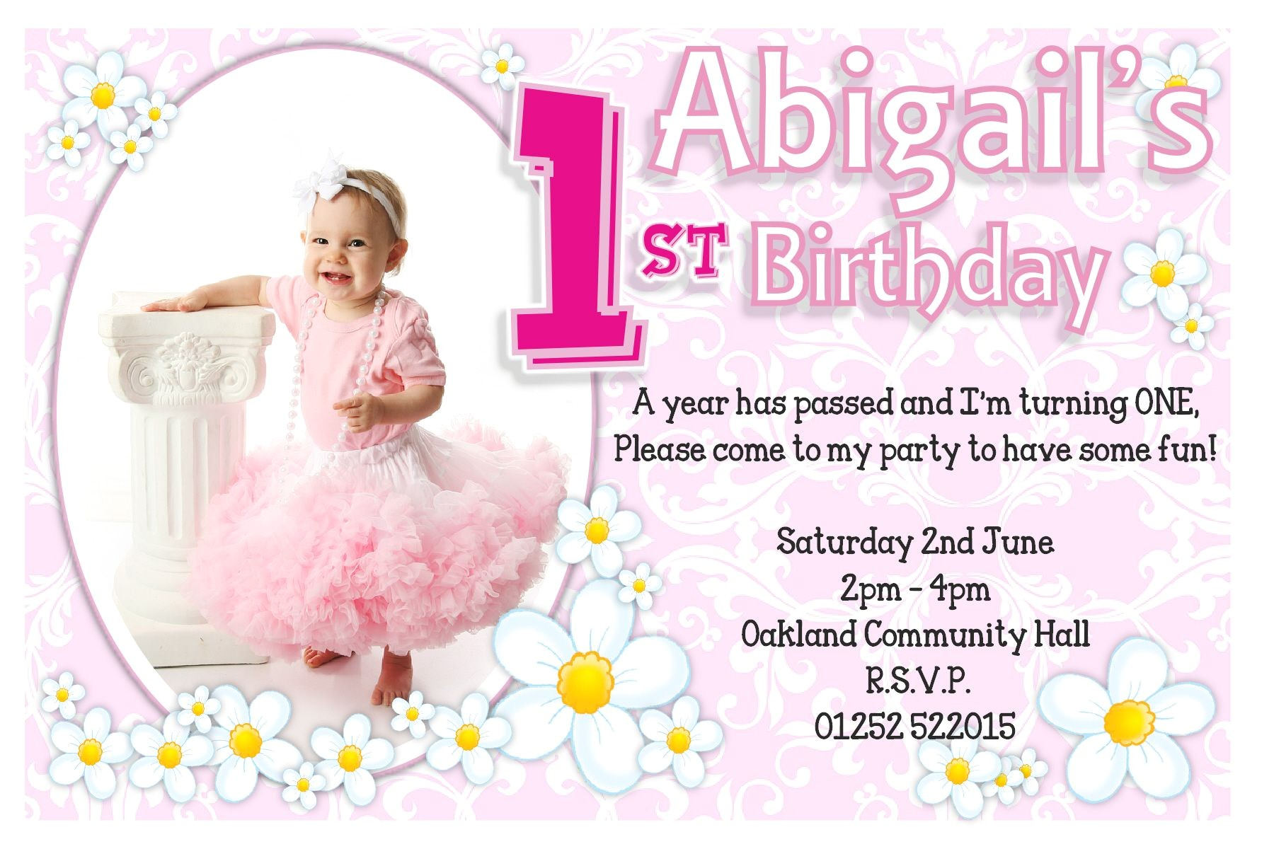 first birthday invitation matter in english