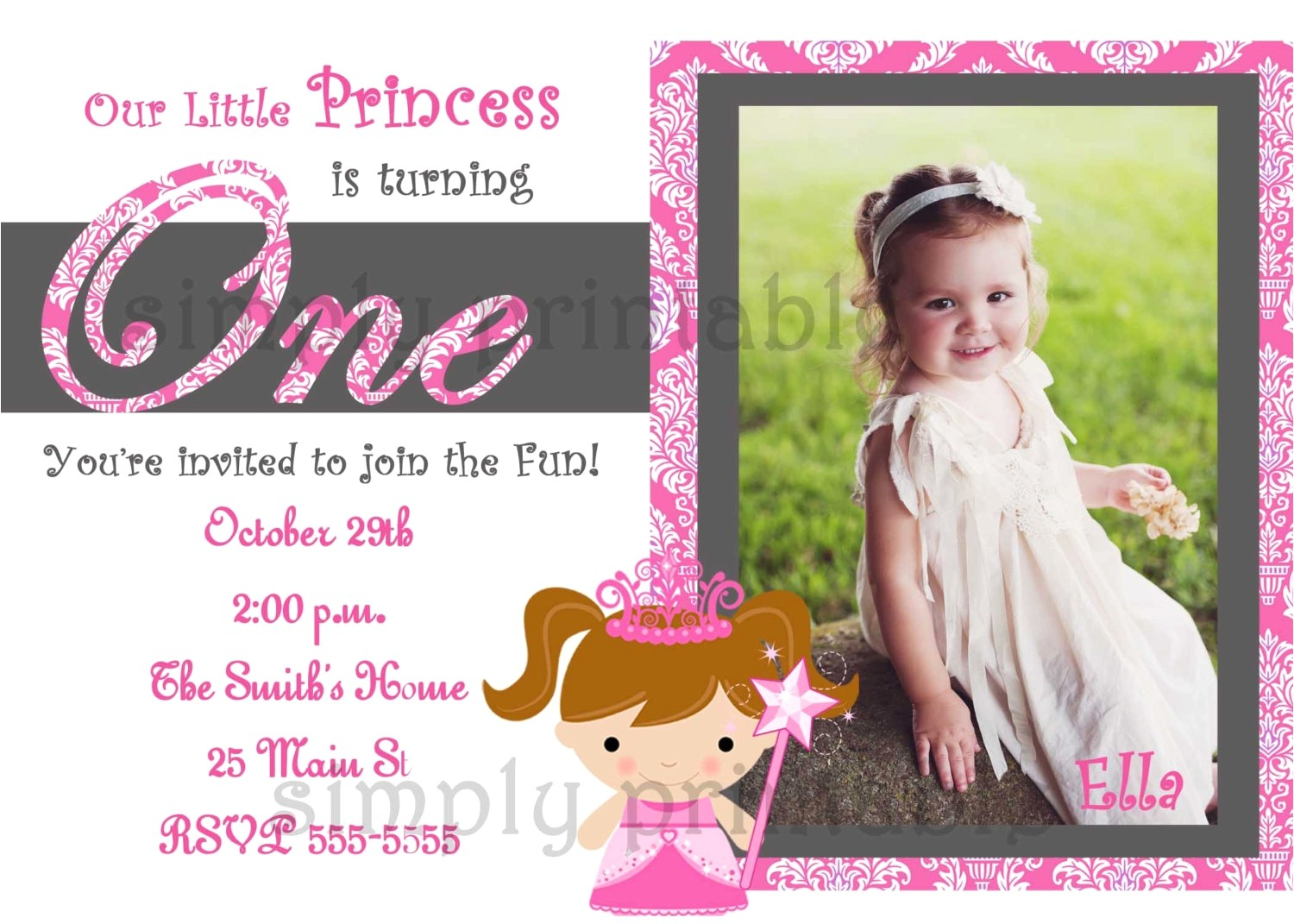 first birthday invitation card template best of sample free printable 1st girls birthday invitations cards