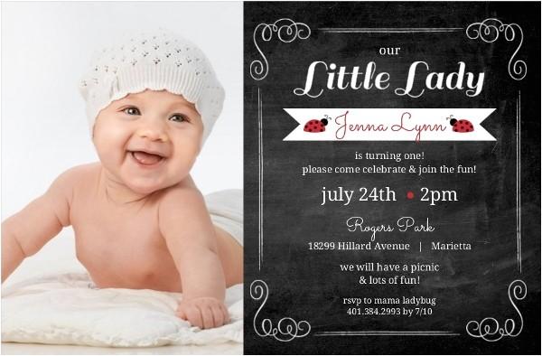 red black chalkboard frame ladybug 1st birthday invitation