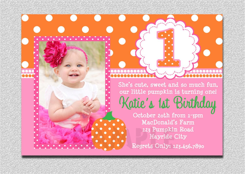 pumpkin birthday invitation pumpkin 1st