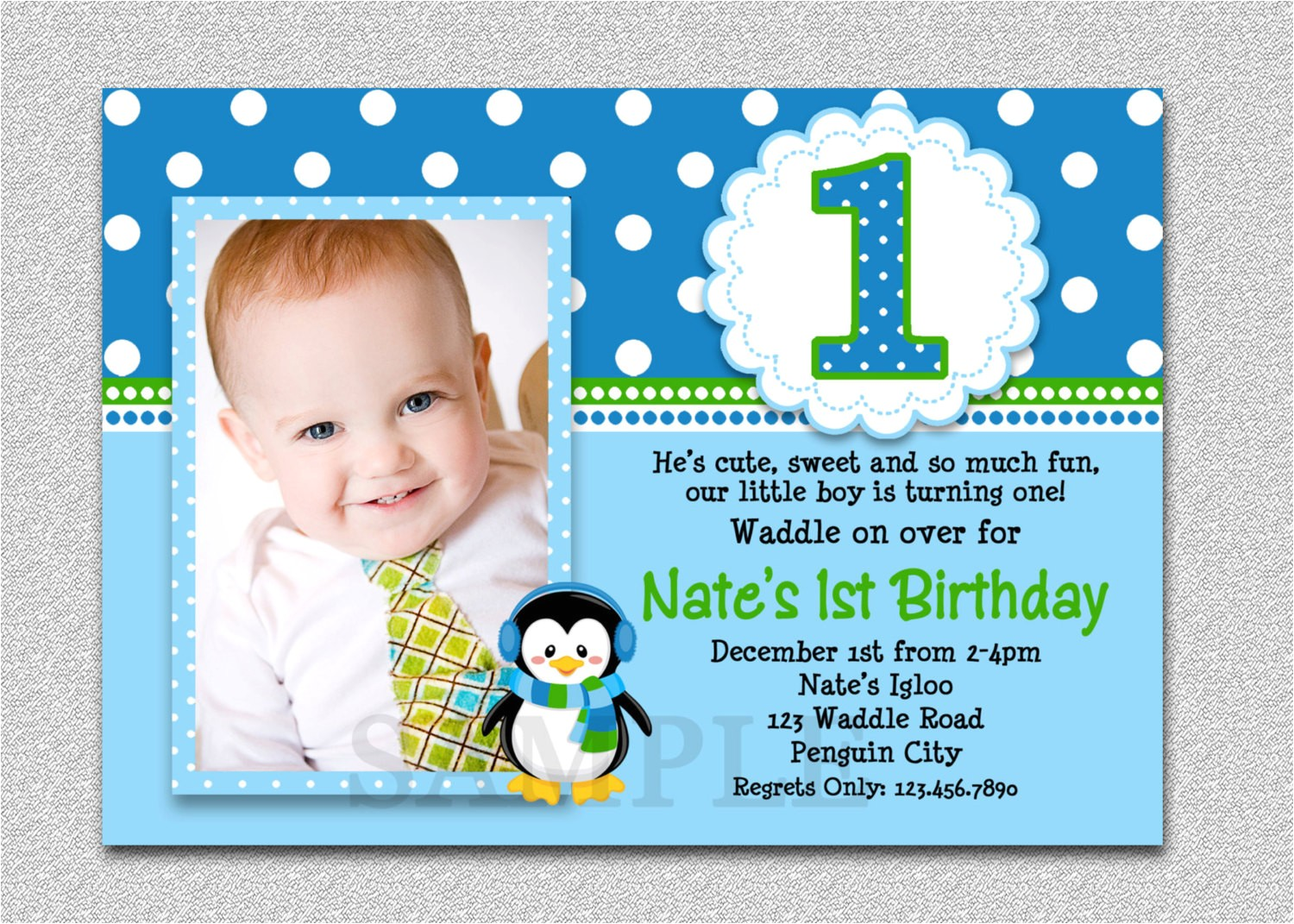 penguin birthday invitation penguin 1st
