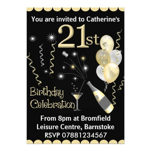 21st birthday party invitations black gold