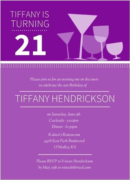 cocktail glasses 21st birthday invitations