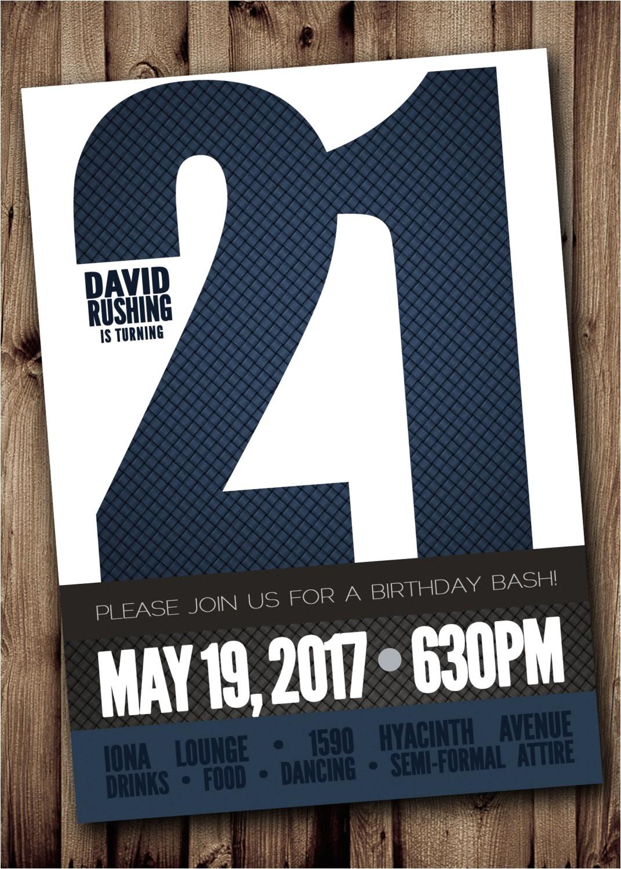 21st birthday party invitation for man