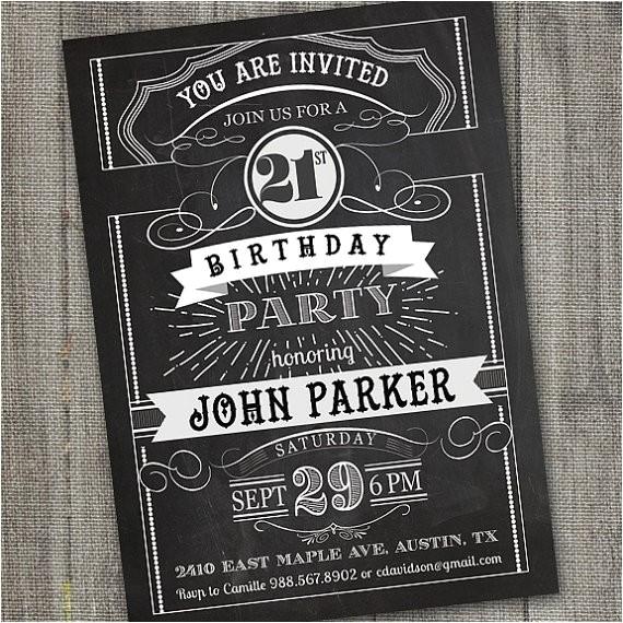 vintage retro birthday invitation printable chalkboard