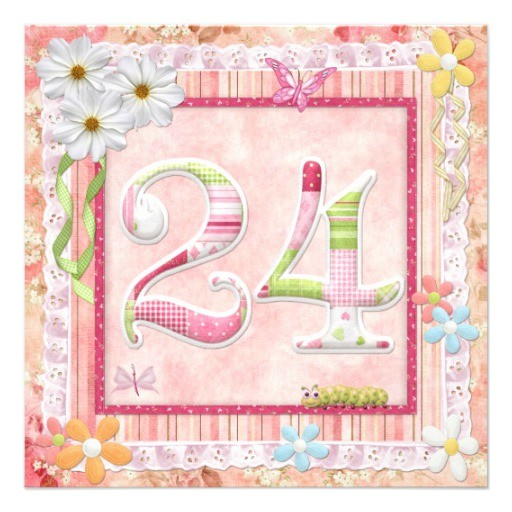 24th birthday party scrapbooking style invitation
