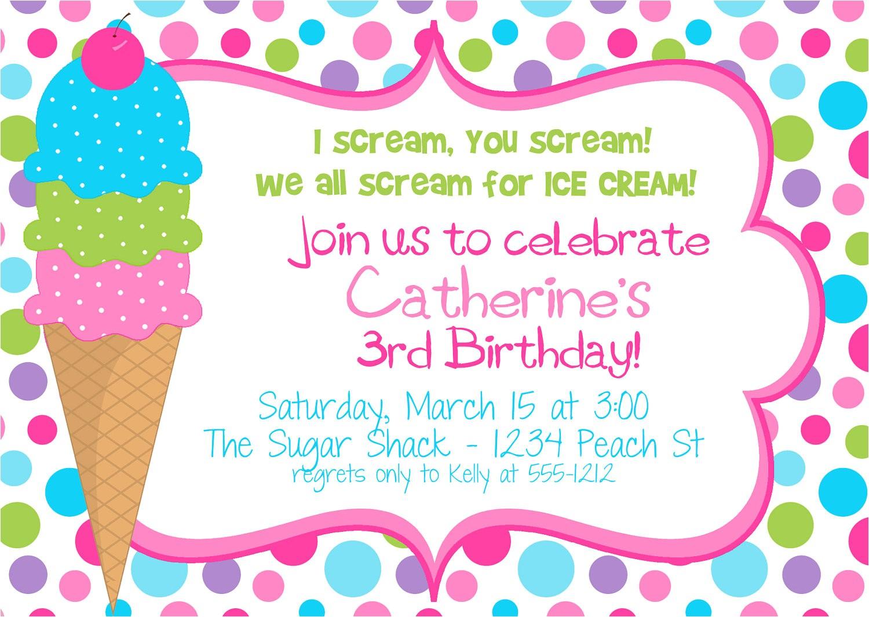 icecream birthday party invitation for