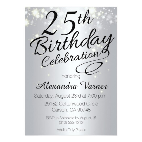 25th birthday invitations silver sparkly invites 256625156256220762