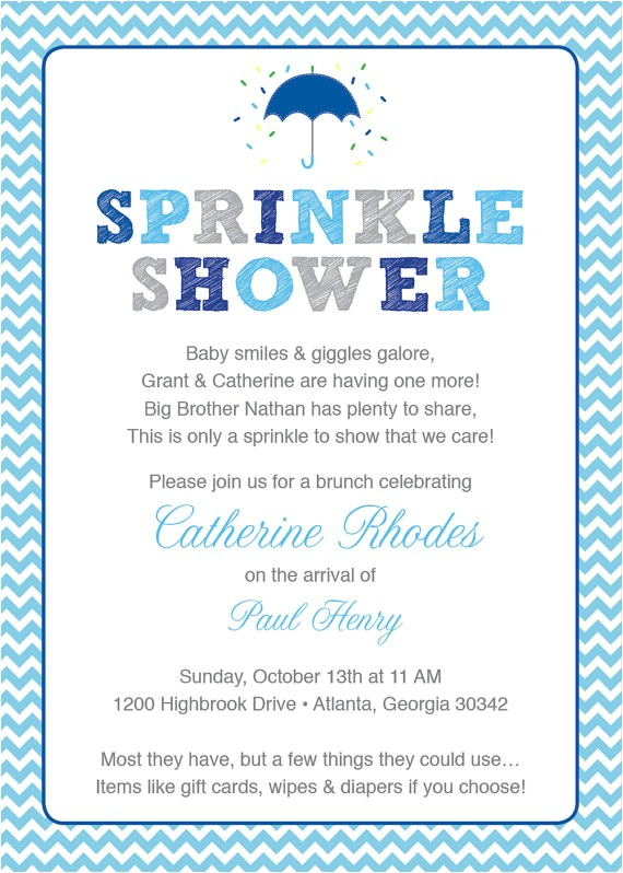 blue baby sprinkle shower invitation