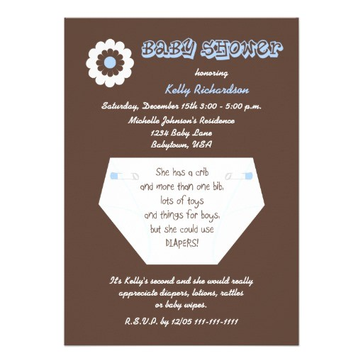 2nd Baby Boy Shower Invitations Diaper Second Baby Boy Shower Invitation
