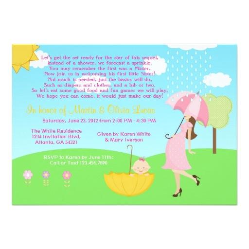 cute modern mom and baby girl baby sprinkle invitation
