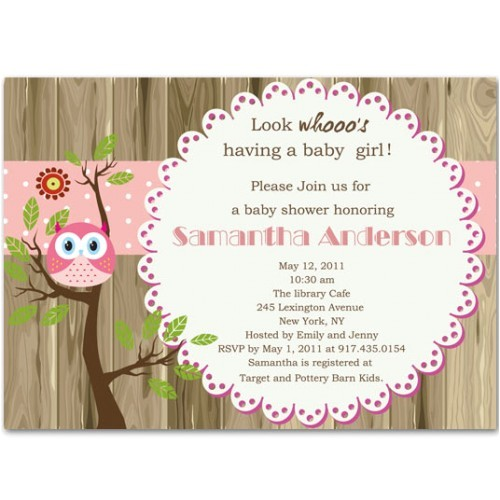 lovely owl and tree brown baby girl shower invitations bs238