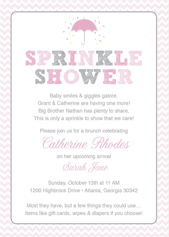 pink baby sprinkle shower invitation