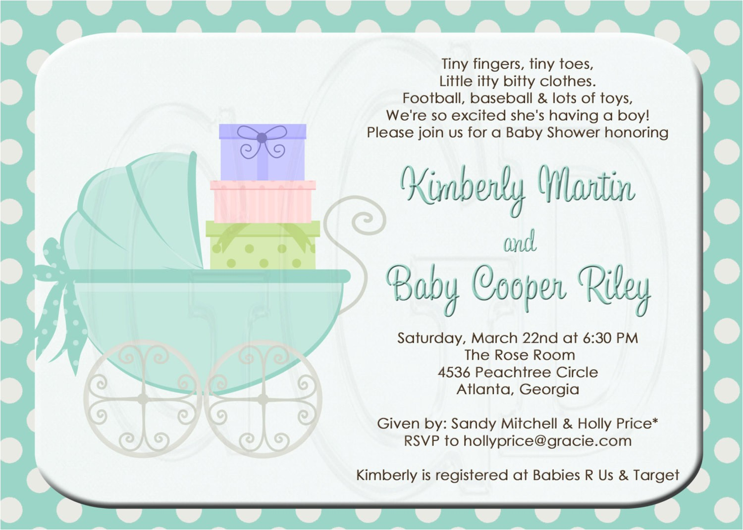 baby shower invitation or sprinkle for