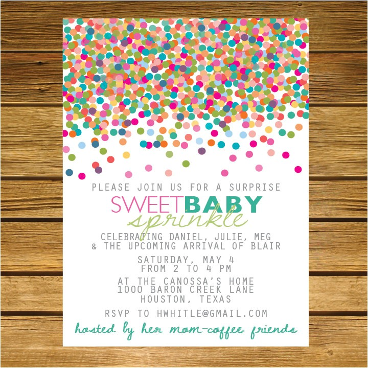 sprinkle second baby shower invitation